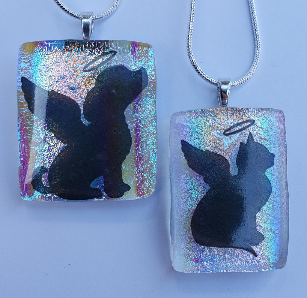 2 pendants dog and cat angels with halo cremation pendants Unique Pet Memorial Cremation Jewelry Ashes InFused Glass Handmade Cremation Memorial Glass Art,  Sympathy Gifts, Mourning Glass Art Service Cremation Ashes Infused in Glass. Quality Sterling Silver USA Handmade by Infusion Glass Artist Joele Williams Human and Pet Cremation Ash Remembrance Urns AshesInfusedGlass.com