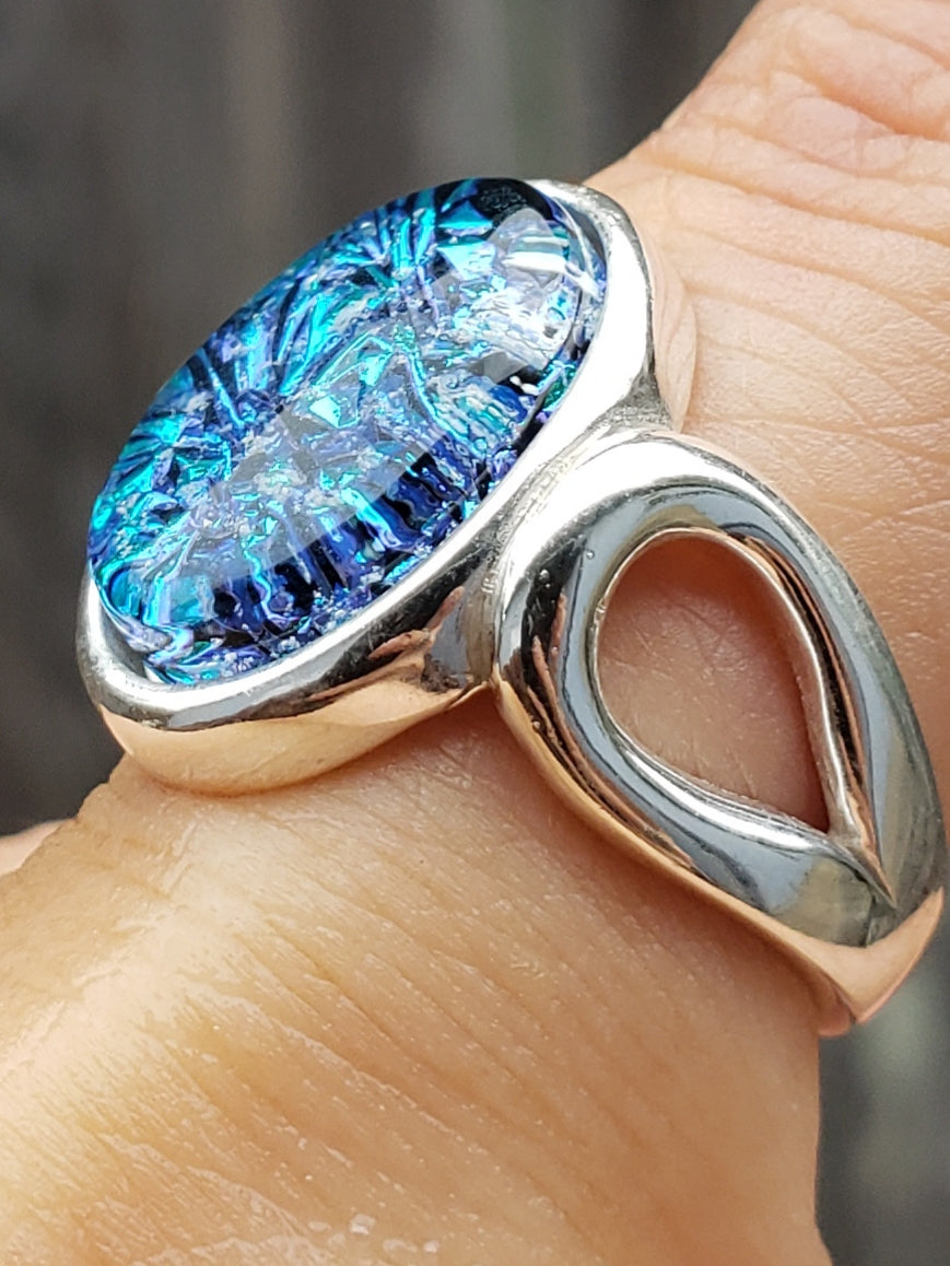 aqua crinkle loop ring sterling silver, cremation jewelry, memorial jewelry, pet memorial jewelry, cremation ring, memorial ring, handmade, urn ring, ashes in glass, ashes InFused Glass, ring for Ashes, sympathy gift USA Handmade by Infusion Glass Artist Joele Williams Human and Pet Cremation Ash Remembrance Urns AshesInfusedGlass.com