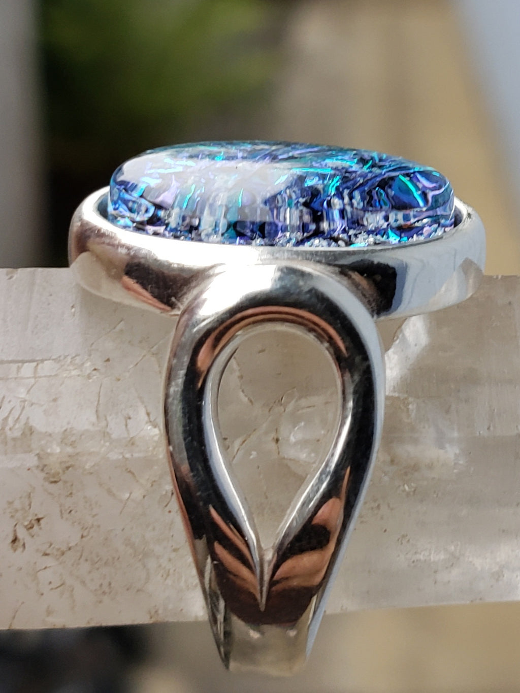 side view flat cut aqua crinkle loop band sterling silver, cremation jewelry, memorial jewelry, pet memorial jewelry, cremation ring, memorial ring, handmade, urn ring, ashes in glass, ashes InFused Glass, ring for Ashes, sympathy gift USA Handmade by Infusion Glass Artist Joele Williams Human and Pet Cremation Ash Remembrance Urns AshesInfusedGlass.com