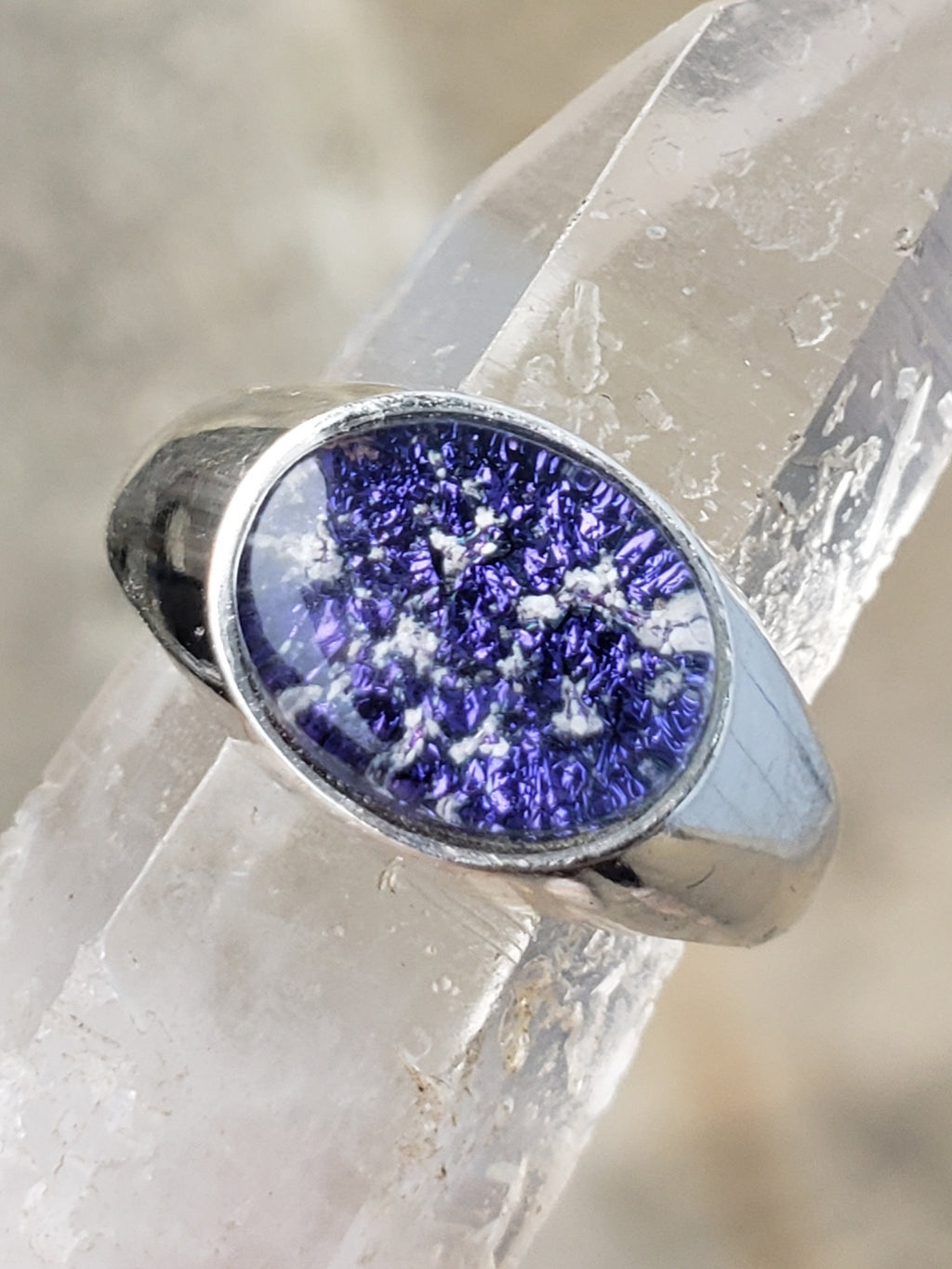 Men's Cremation Jewelry Ring Ashes InFused Glass Sterling Silver 10