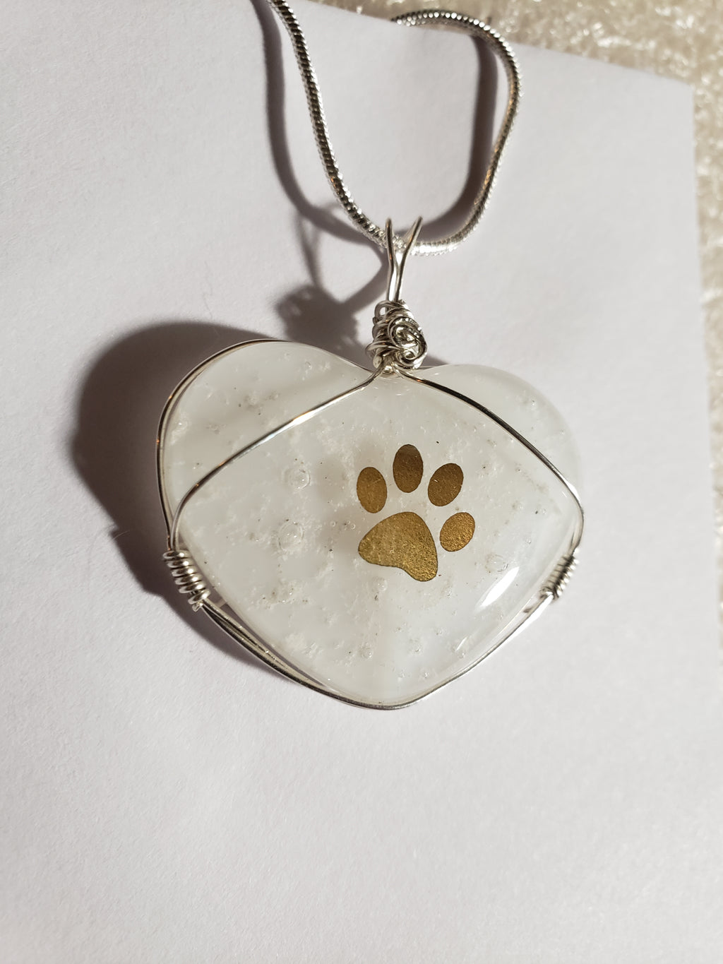 Cremation Jewelry Paw Print Heart Necklace Ashes InFused Glass Keepsake Urn