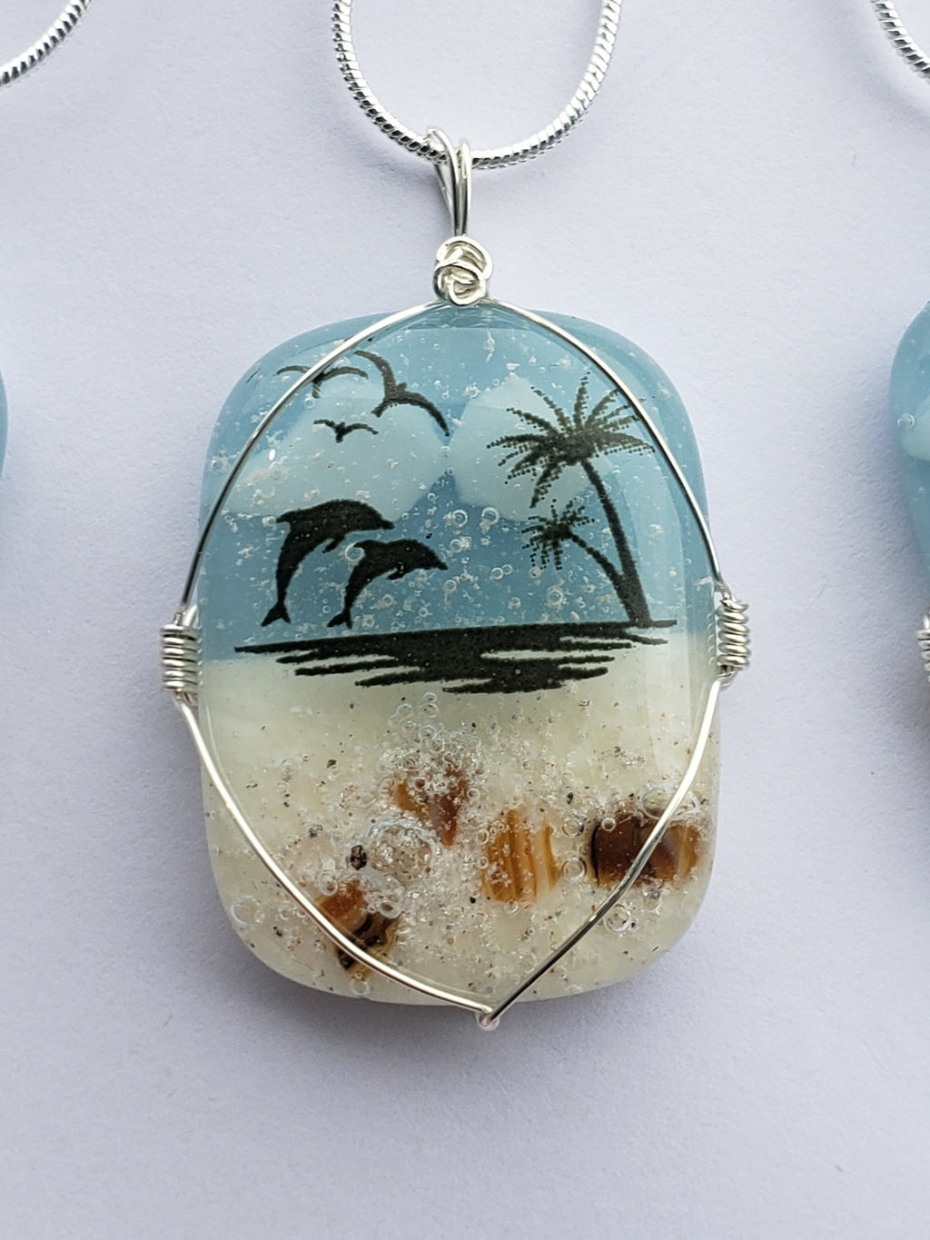 Cremation Jewelry Pendant Dolphin Beach Ocean Ashes InFused Glass