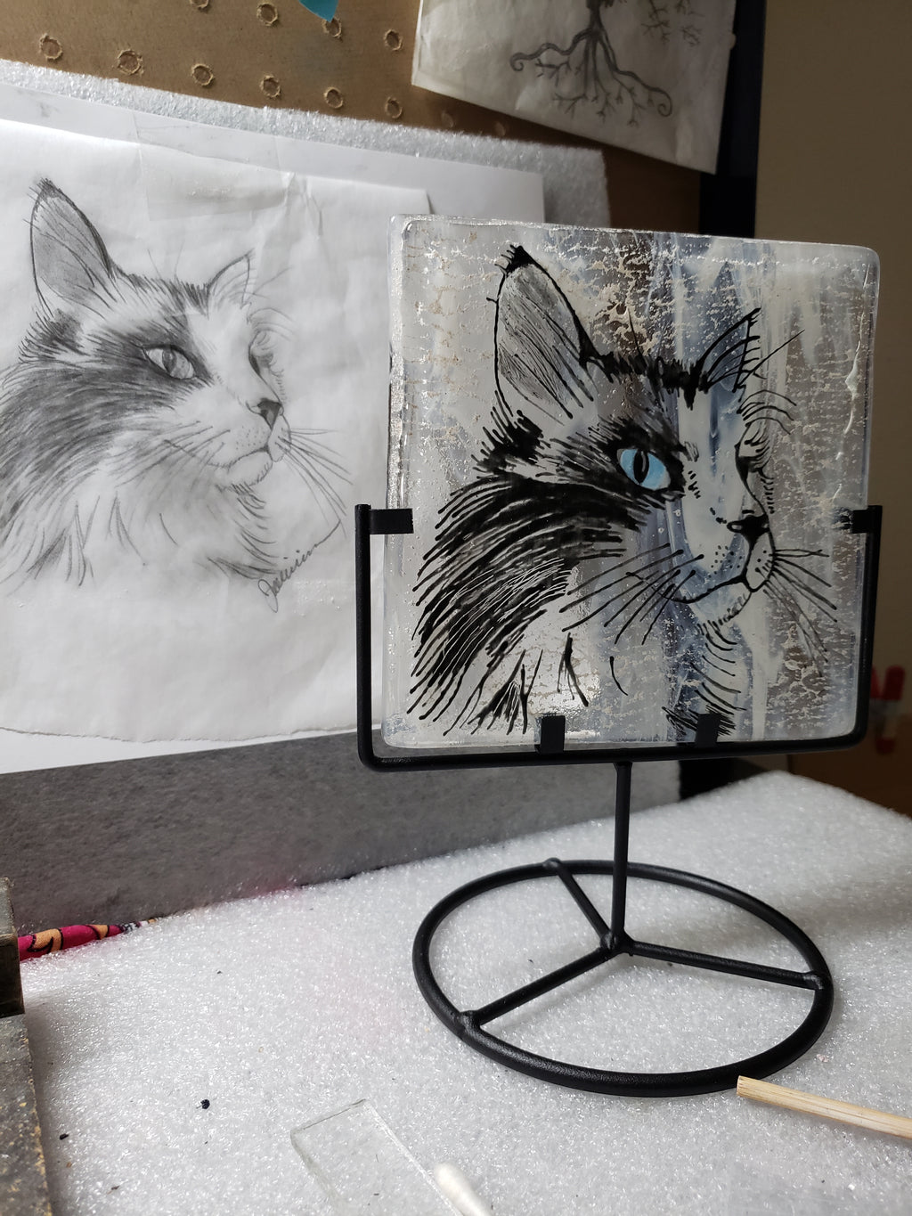 Ashes InFused Glass Cremation Art Portrait Sketch Pet Memorial Candle