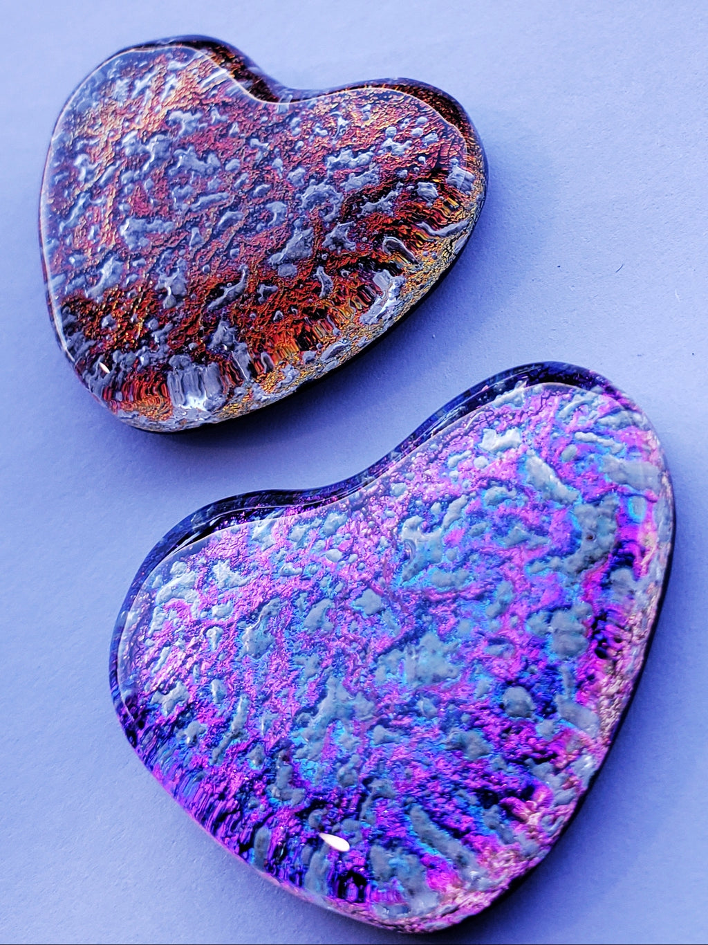 Heart Dichroic Glass Cremation Jewelry Pendant Ashes InFused Glass