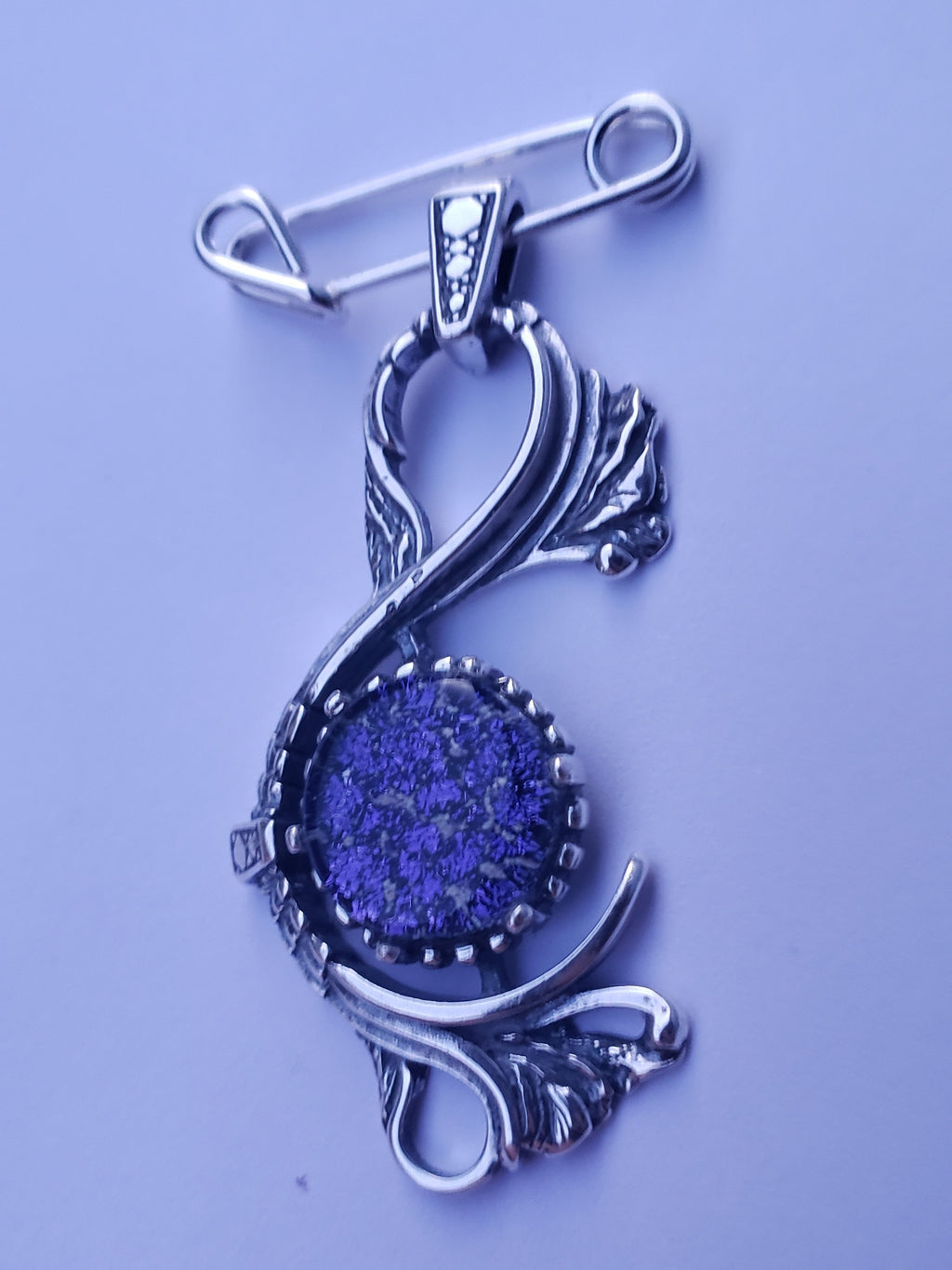 New Sterling Silver Victorian Brooch Pin Ashes InFused Glass Cremation Jewelry Pendant Urn Necklace