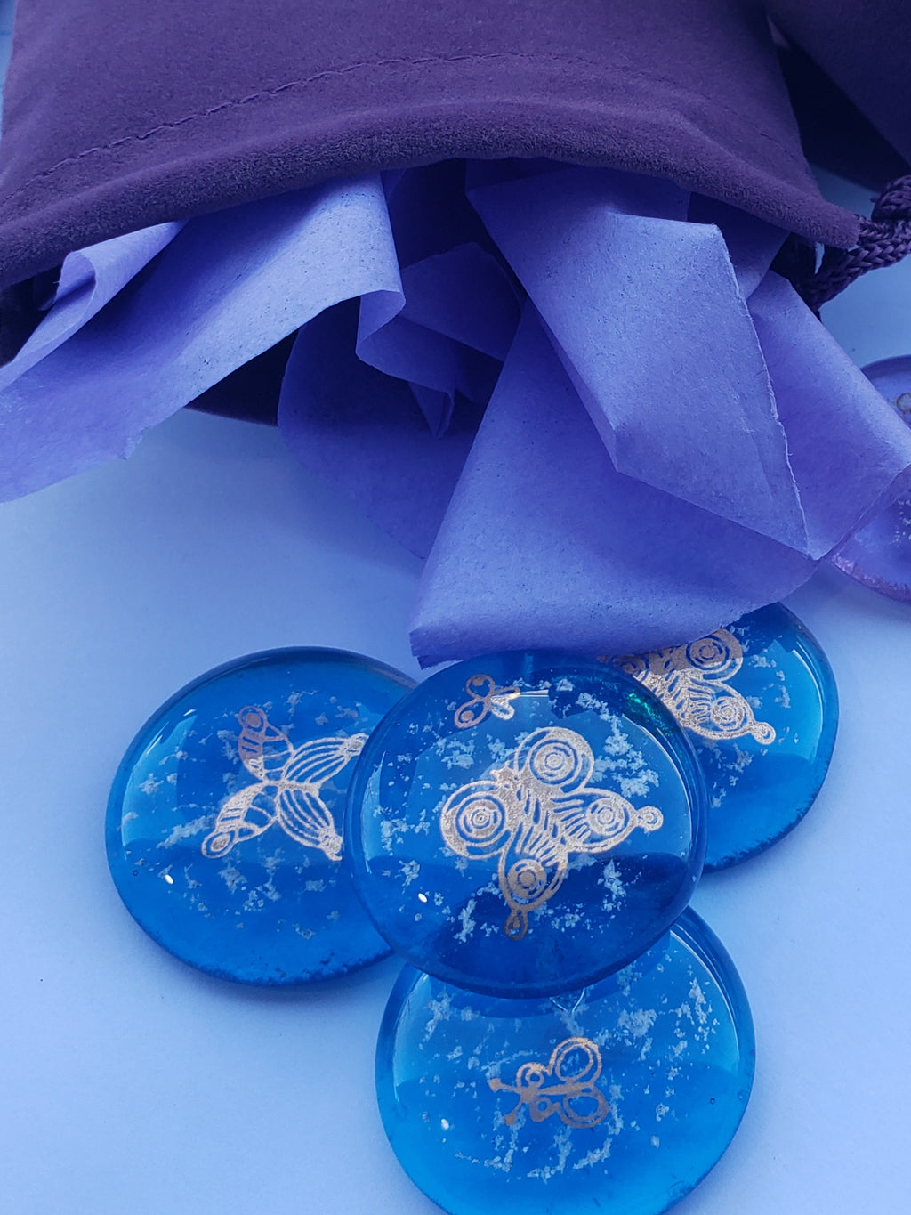Butterfly Cremation Pocket Stones 4 (set) Ashes InFused Glass 1 inch stones in Velvet Bag