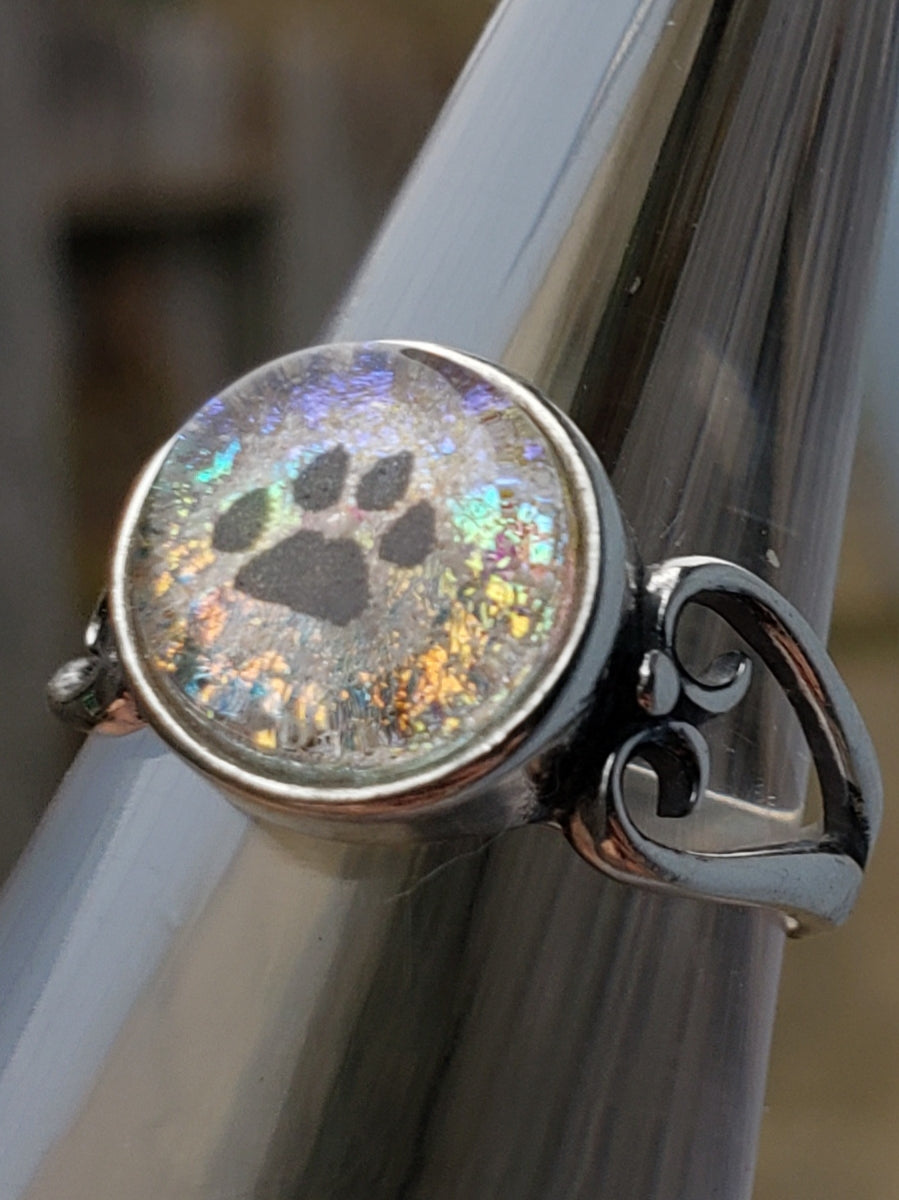 Paw Print Heart Sterling Silver Cremation Jewelry Ring Ashes InFused Glass 7,8