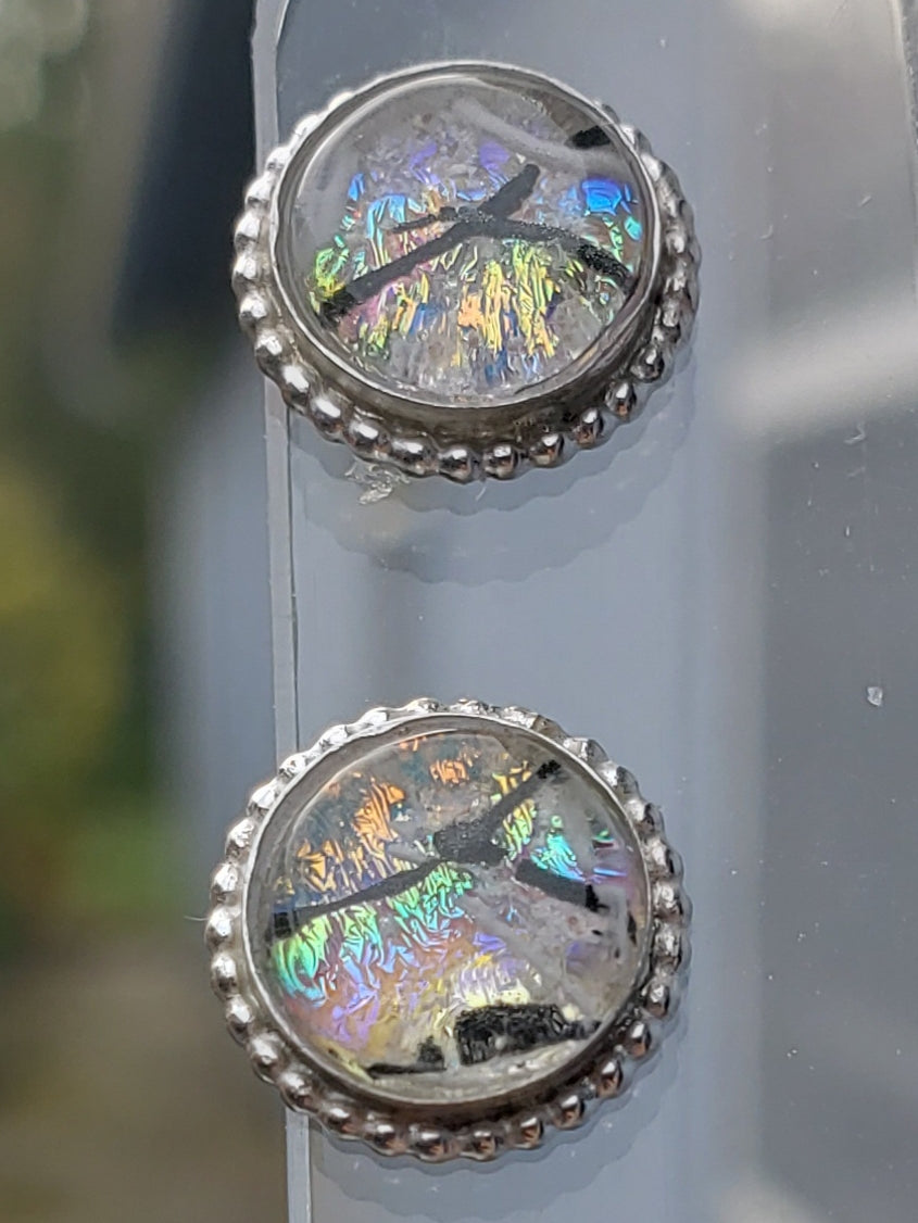 NEW Beaded Cremation Earrings Studs Ashes InFused Glass Sterling Silver 8mm