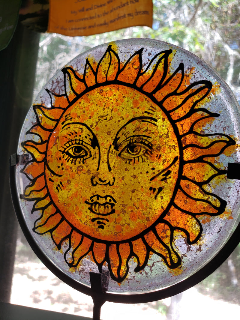 NEW Sun Face Ashes InFused Glass Cremation Memorial Art