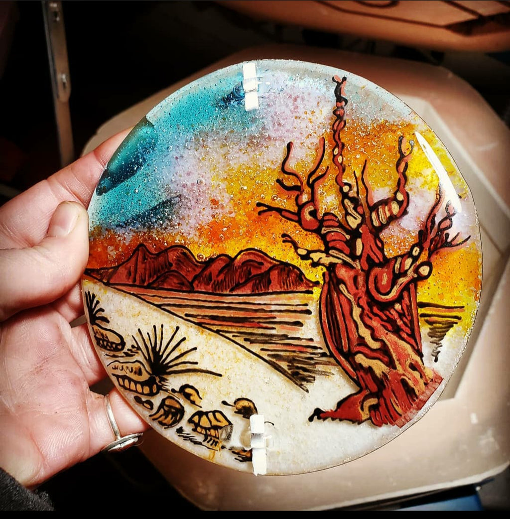 NEW Desert Pine Sunset Ashes InFused Glass Cremation Memorial Art