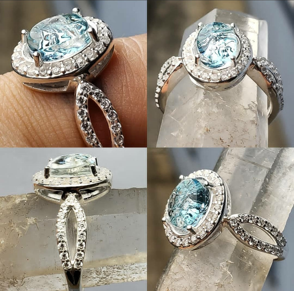 Engagement Style Ashes InFused Glass Cremation Ring 22 cubic zirconium Sterling Silver 7,8