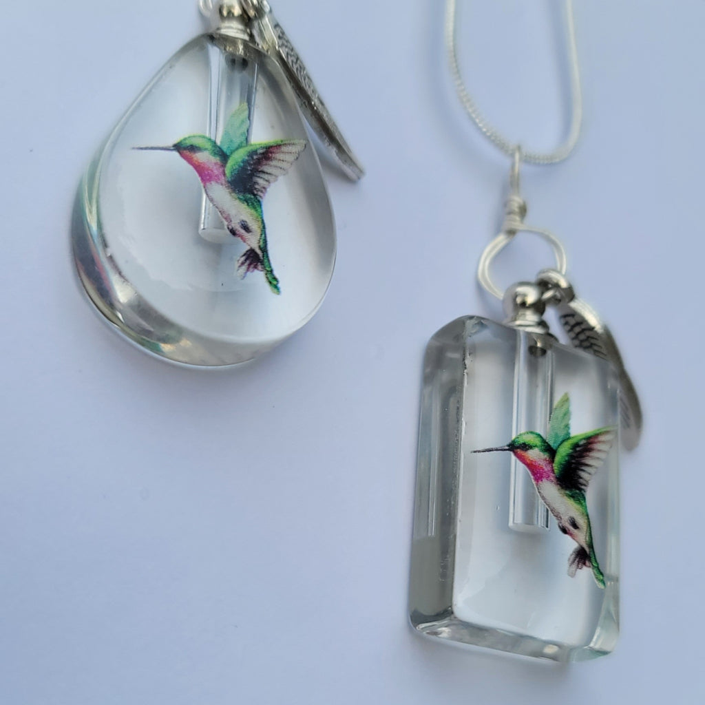 DIY Hummingbird Cremation Jewelry Necklace Sympathy Kit Gift Wrapped with Tools