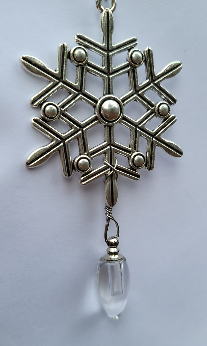 Snowflake Tree Ornament Silver Cremation Urn Bead Fill Yourself Sympathy Gift