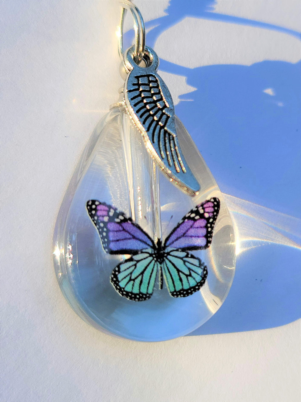 DIY Purple Teal Monarch Butterfly Cremation Jewelry Urn Necklace Sympathy Gift Wrapped with Tools