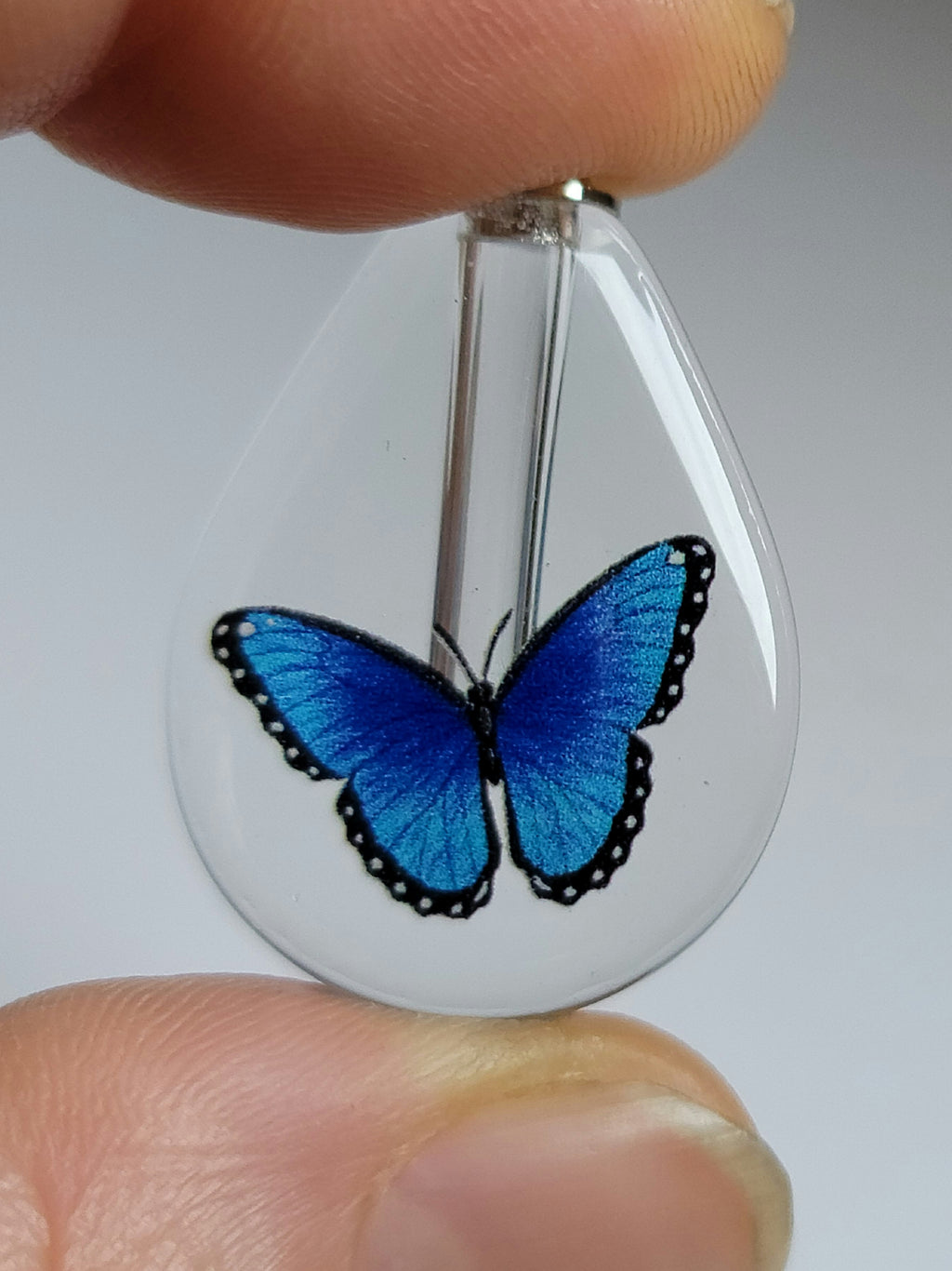 DIY Blue Morpho Butterfly Cremation Jewelry Urn Necklace Sympathy Gift
