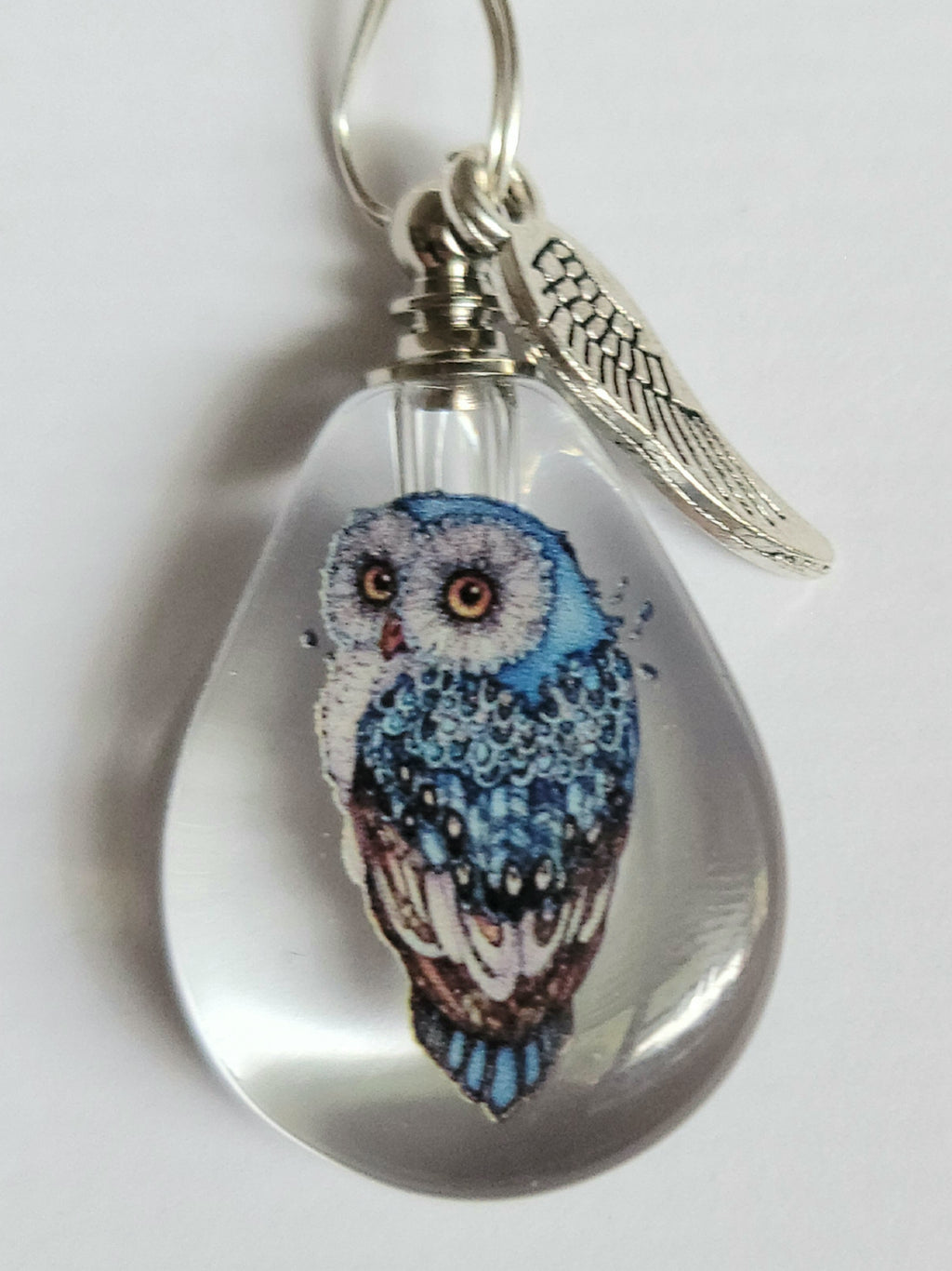 Owl Cremation Urn Bead Crystal Bottle Necklace Fill Yourself