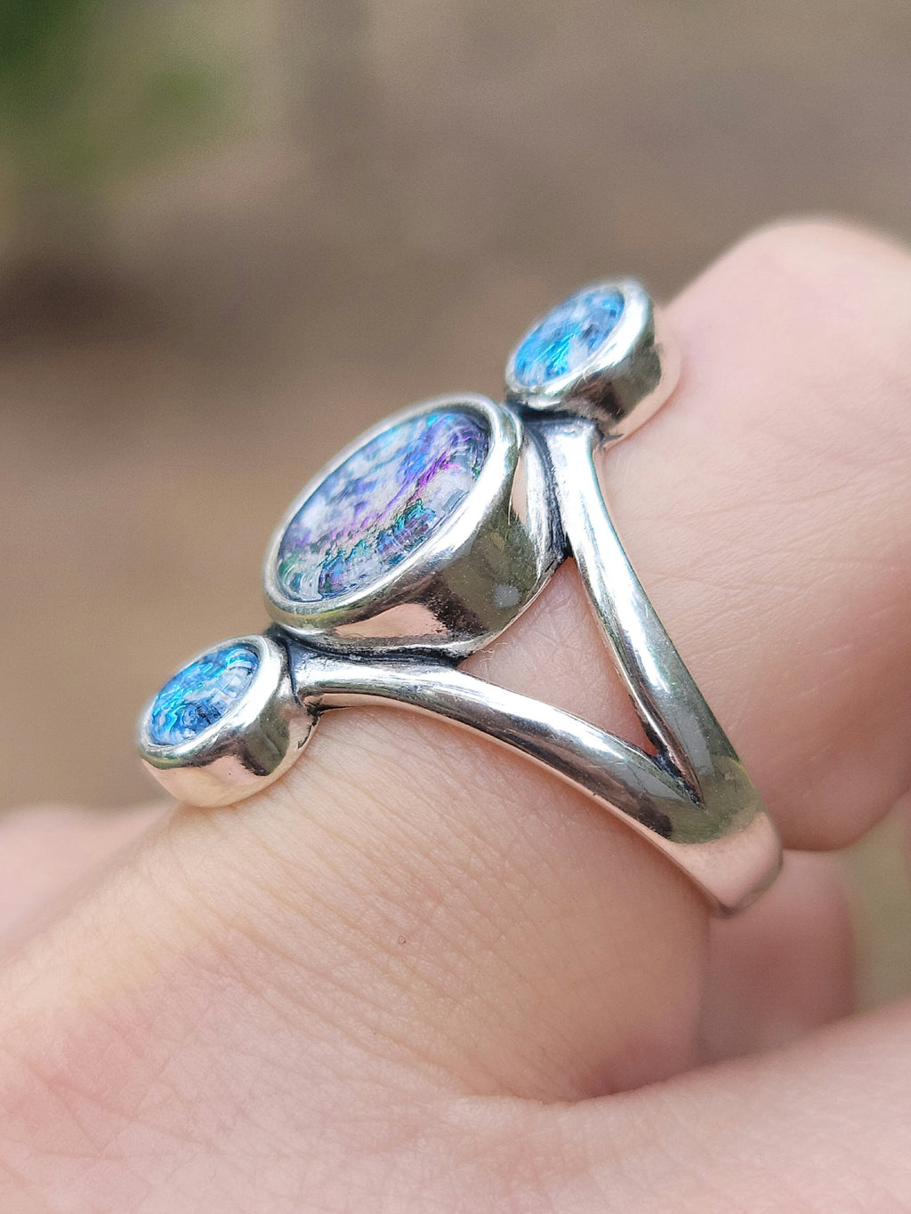 NEW Sterling Silver Three Stone Ring Ashes InFused Glass Cremation Jewelry  7,8