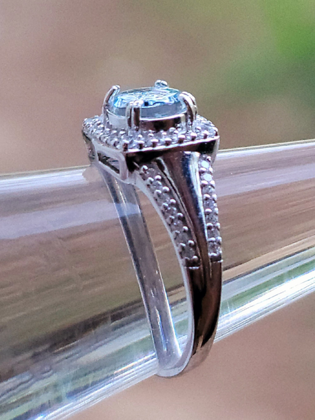 NEW Halo Engagement Style Ashes InFused Glass  7x5mm Stone with 52 CZs Accents Tapered Sterling Silver Cremation Ring Size 7