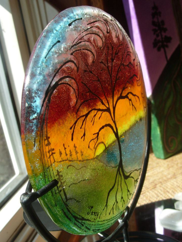 tree of life ocean wave cremation ashes infused glass by infusion glass cremation memorial