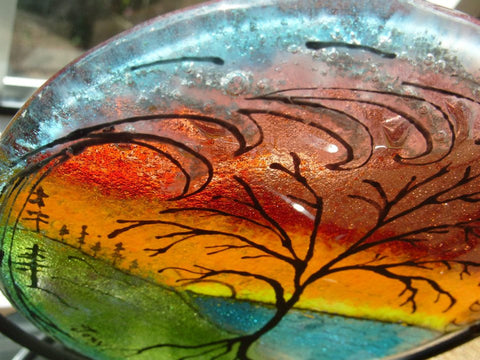 Cremation Glass Art Memorial 5 inch Glass Sunset Tree of Life Ocean Wave Candle Displays Ashes InFused in Glass