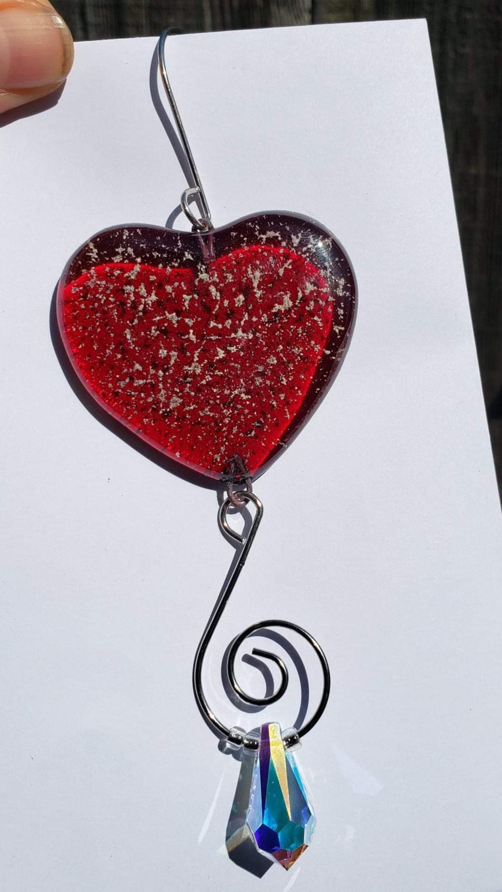 Cremation Sun Catcher Customizable Shape /Color 2 inch Mini Ashes InFused in Glass