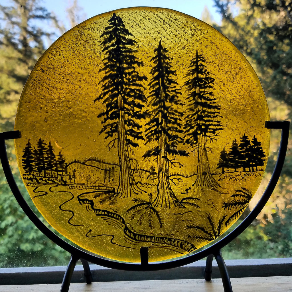 Ashes Infused Glass Redwood Tree River Cremation Memorial Art