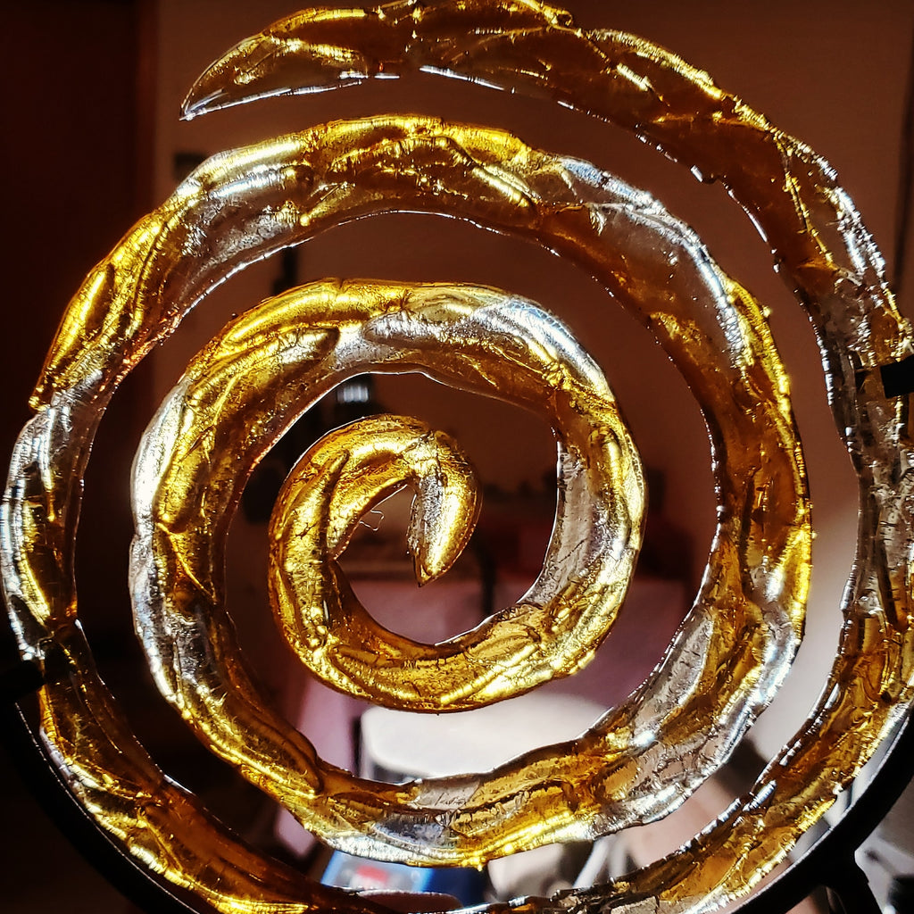 Ashes InFused Glass Cremation Art Spiral of Life Sculpture Memorial Urn