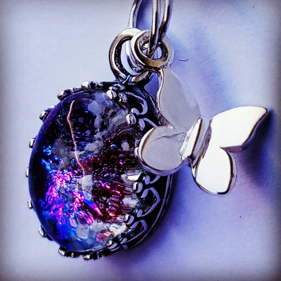 New Tiny Sterling Silver Butterfly Charm Ashes InFused Glass Cremation Jewelry