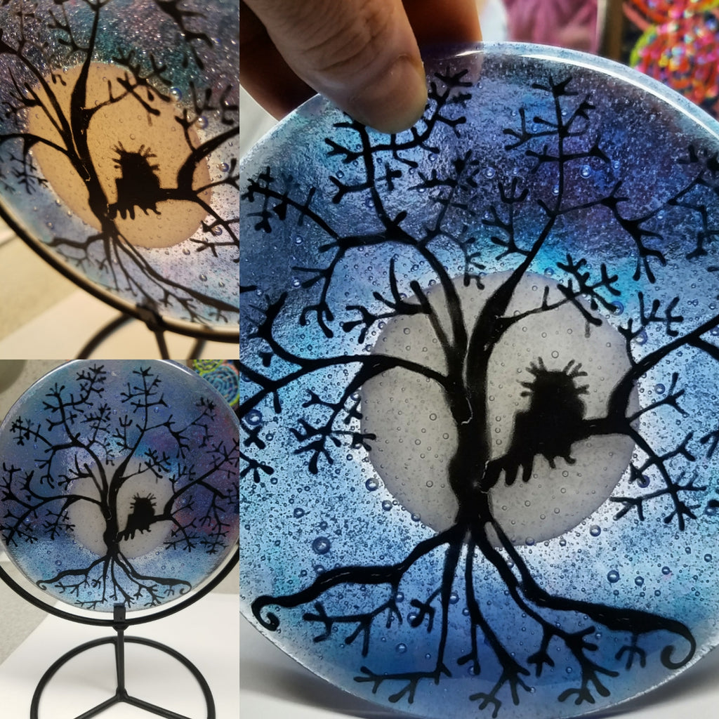 Tree of Life Owl Urn Cremation Ashes Infused Glass by Infusion Glass Full Moon