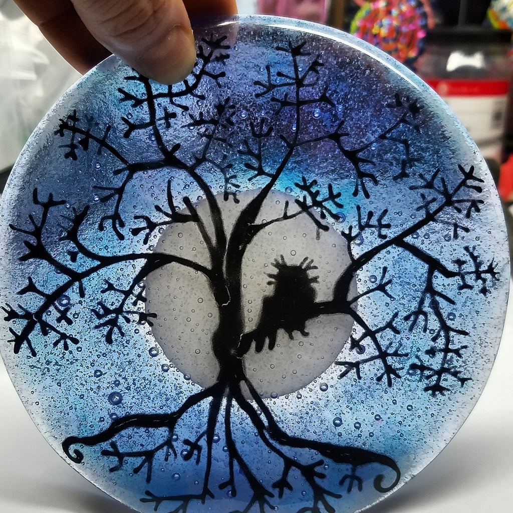 5 inch Tree of Life Owl Urn Cremation Ashes Infused Glass by Infusion Glass Full Moon in hand