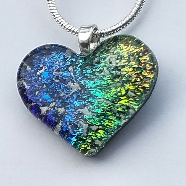 NEW Tiny 3/4 Inch Cremation Jewelry Heart Ashes InFused Glass Pendant