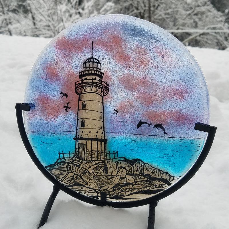 A Lighthouse Cremation Ashes InFused Glass Memorial Art Table Display