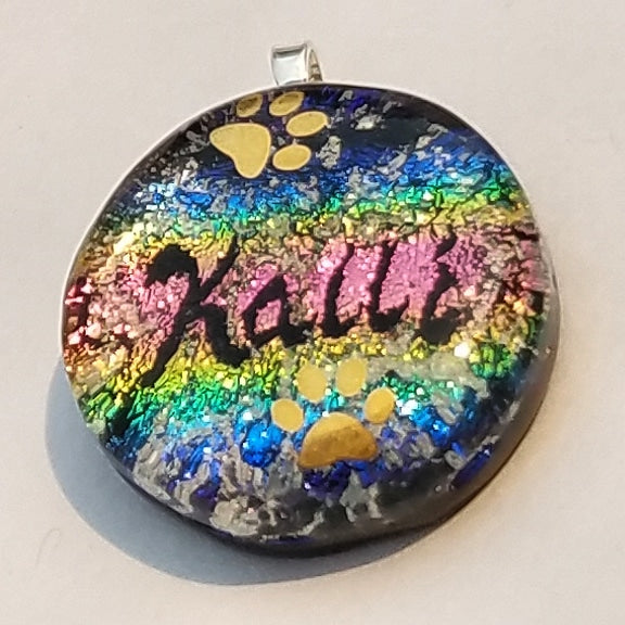 Pet Name Paw Print Dog or Cat Rainbow Bridge Handmade Cremation Jewelry Pendants, Rings and Bracelets. Ashes in Glass Handmade . Sympathy Gifts, Mourning Jewelry. Cremation Ashes Infused in Glass. Quality Sterling Silver and 14k Gold USA Handmade by Infusion Glass  Human & Pet Cremation Ash Remembrance Urns AshesInfusedGlass.com