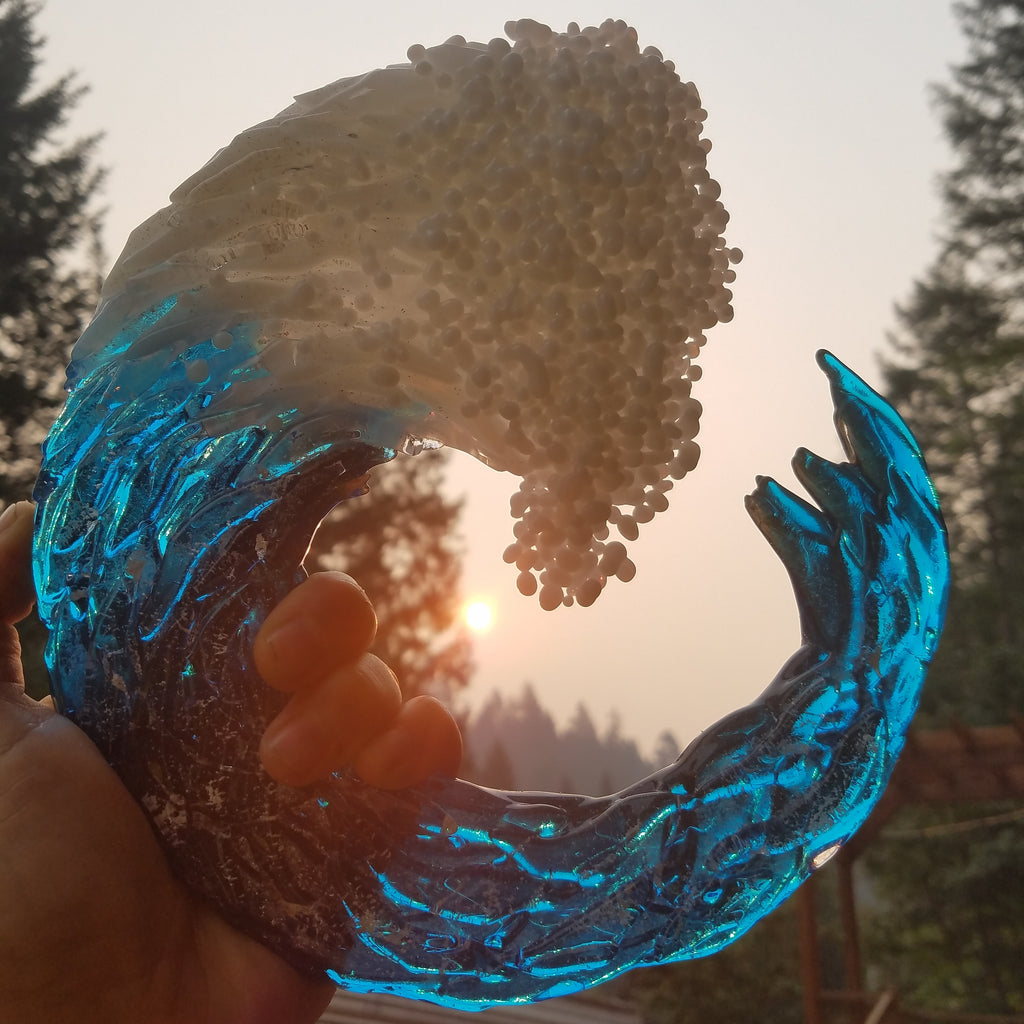 "Ashes Infused Glass Cremation Art 3D Ocean Wave Sculpture 5"" 8"" 10"""