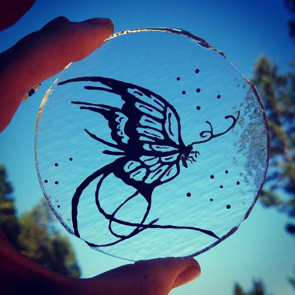 Butterfly Sketch on Glass Unique Celebration of life Funeral Memorials. Ashes in Glass Cremation Glass Art Sculptures, Cremation Wind Chimes, Cremation Sun Catchers, Table Displays, & Cremation Jewelry Custom USA Handmade by Infusion Glass. Ashes Infused Glass Human and Pet Cremation Ash Urns  Ashesinfusedglass.com