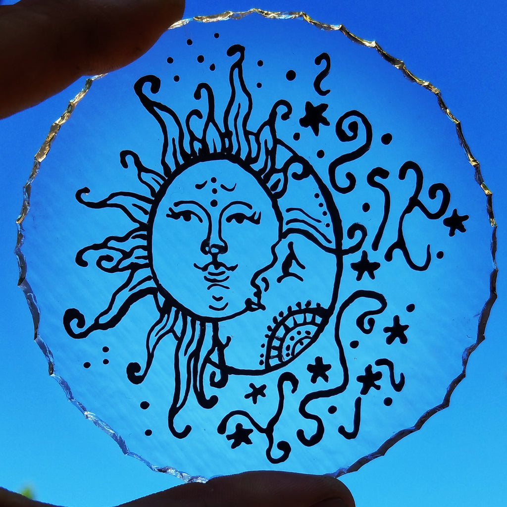 moon and sun sketch on glass Celebration of life Funeral Memorials. Ashes in Glass Cremation Glass Art Sculptures, Cremation Wind Chimes, Cremation Sun Catchers, Table Displays, & Cremation Jewelry Custom USA Handmade by Infusion Glass. Ashes Infused Glass Human and Pet Cremation Ash Urns  Ashesinfusedglass.com