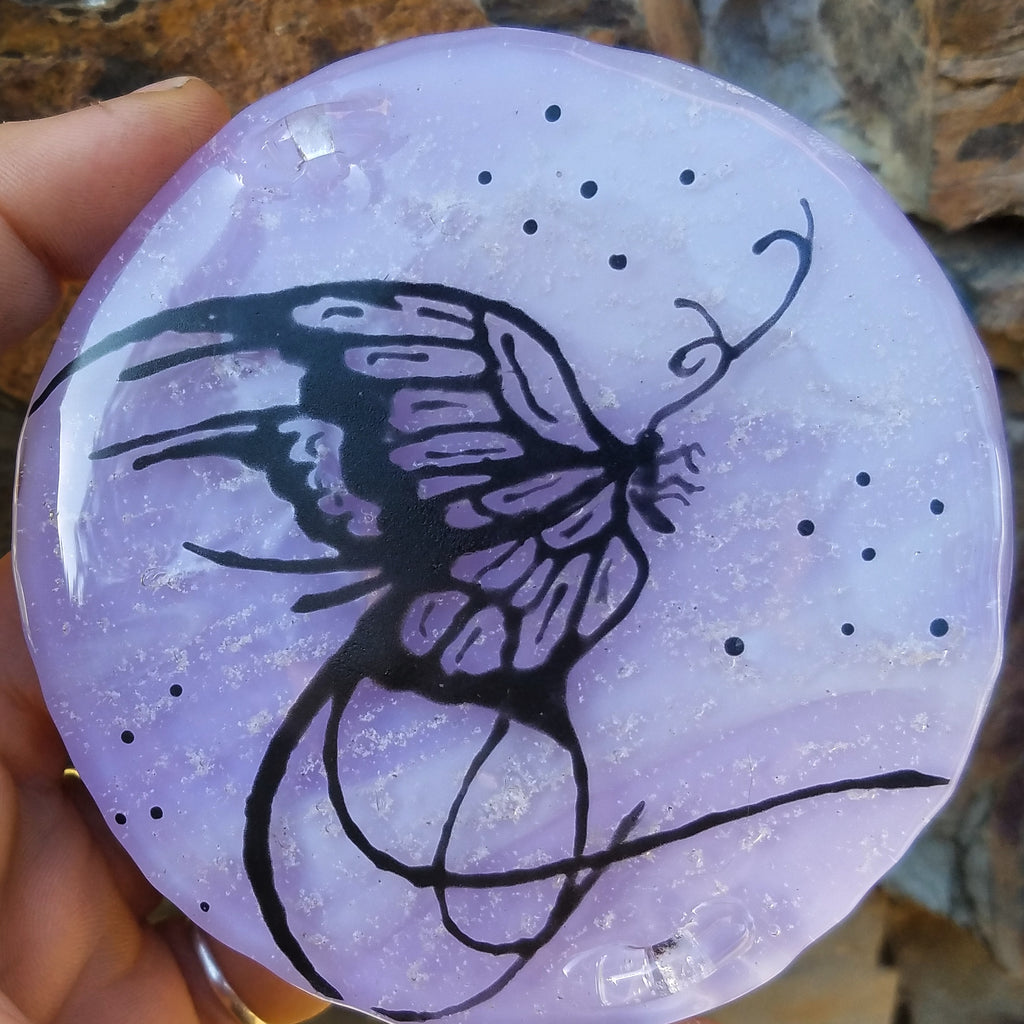 Butterfly Cremation Ashes InFused Glass Art Memorial Urn