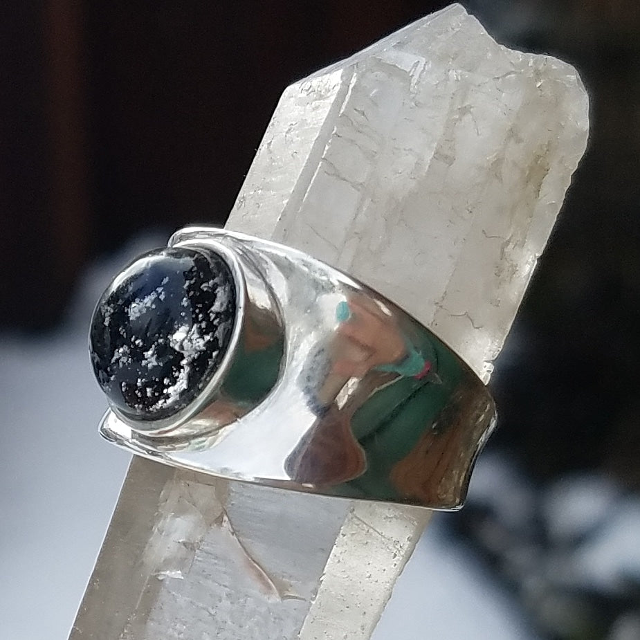 Size 5,6,7,8,9 Cremation Jewelry Sterling  Indented Ring Ashes InFused Glass