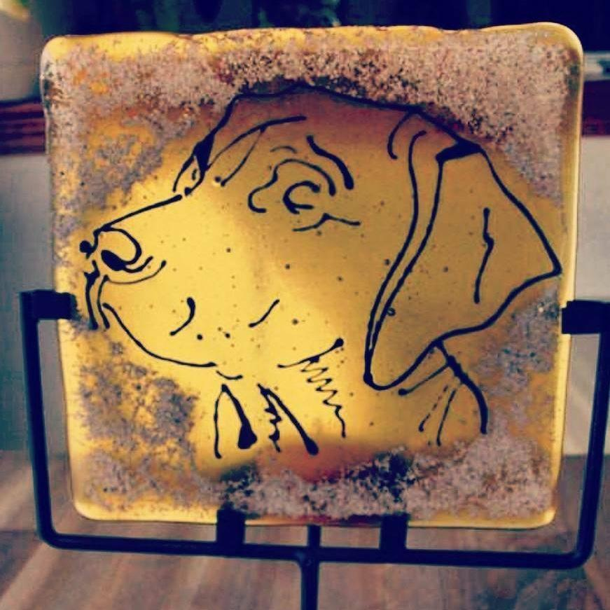 Ashes in Glass Cremation Glass Art Candle Dog Sketch Memorial Glass Urn Ashes Infused Glass custom