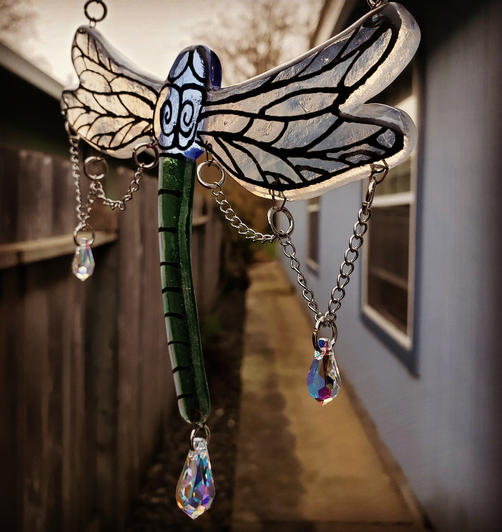 New Dragonfly  Cremation Art Sun Catcher Ashes Infused Glass Memorial 7inch