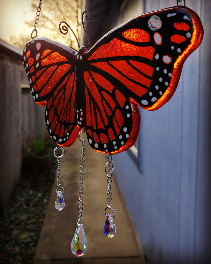 butterfly urn sun catcher monarch butterflies handmade with cremation ashes in glass