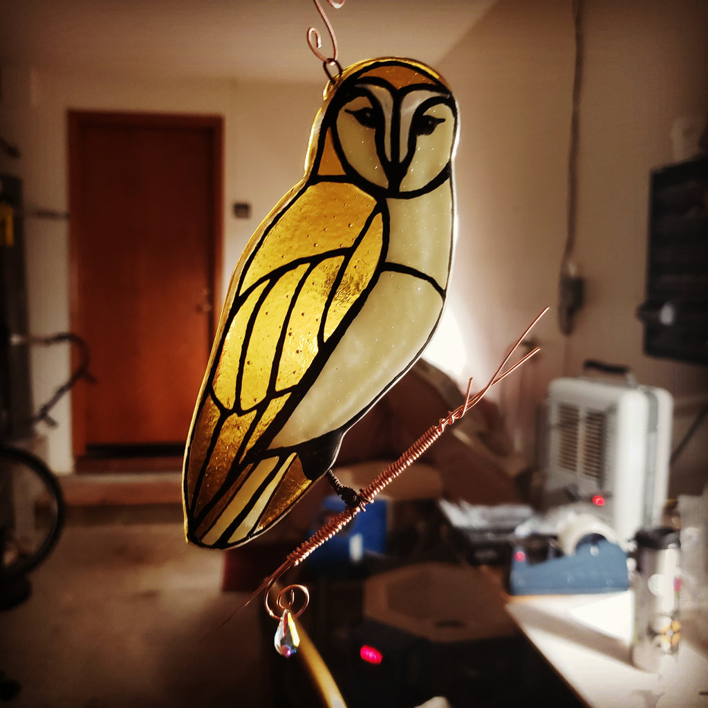 New Owl Cremation Art Sun Catcher Ashes Infused Glass Memorial 7inch