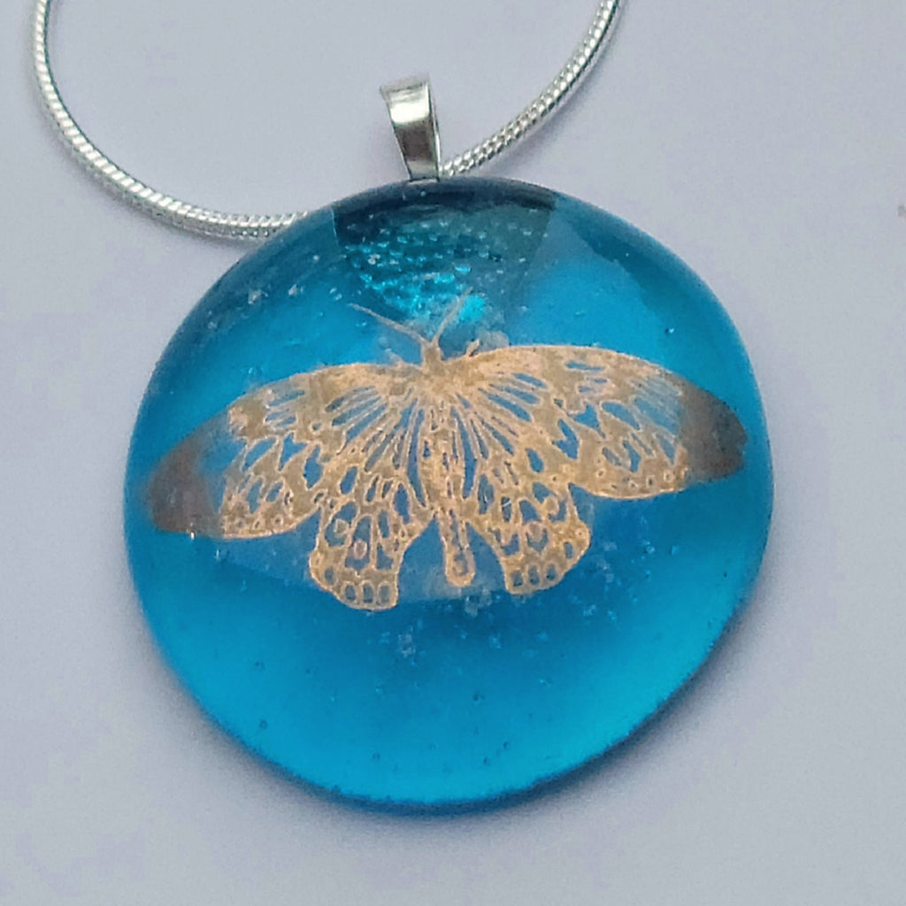 NEW 14k Gold Luster Monarch Butterfly Cremation Pendant Ashes InFused Glass Sterling Silver