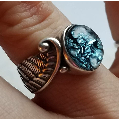 New~Angel Wing Feather Ring Cremation Jewelry Ring Sterling Silver Ashes InFused Glass Memorial Urn sizes 7 or 8