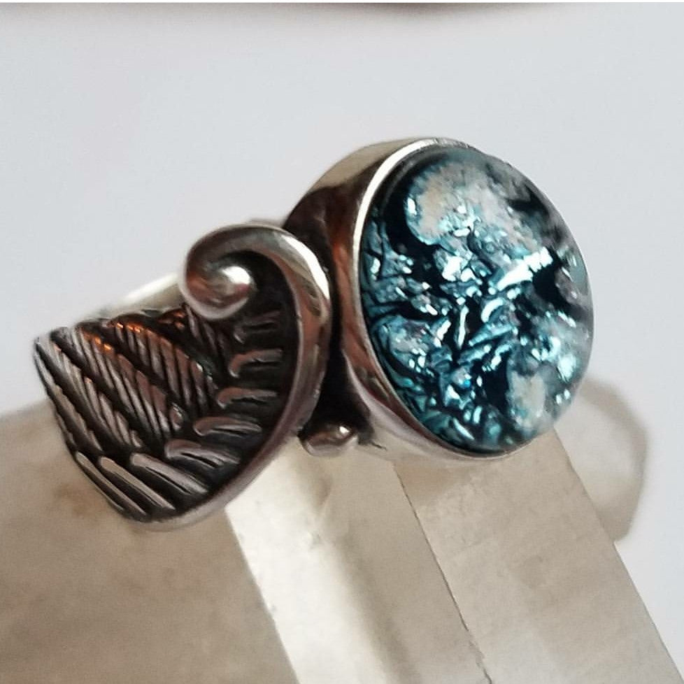Angel Wing Feather Ring Cremation Jewelry Ashes InFused Glass Sterling Silver 7 or 8 Handmade Memorial Cremation  Glass. Cremation Jewelry,