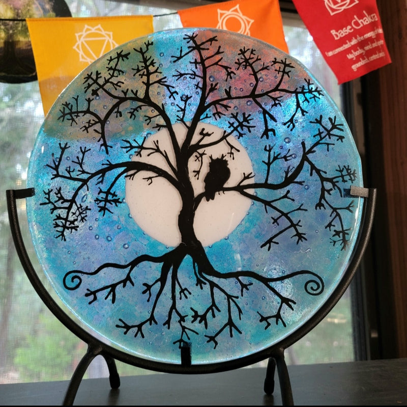 Ashes InFused Glass Cremation Art Owl Moon Tree of Life Table Display