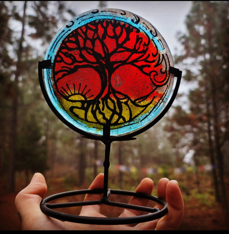 5 inch Ashes InFused Glass Cremation Art A Tree of Life Sunset Wave