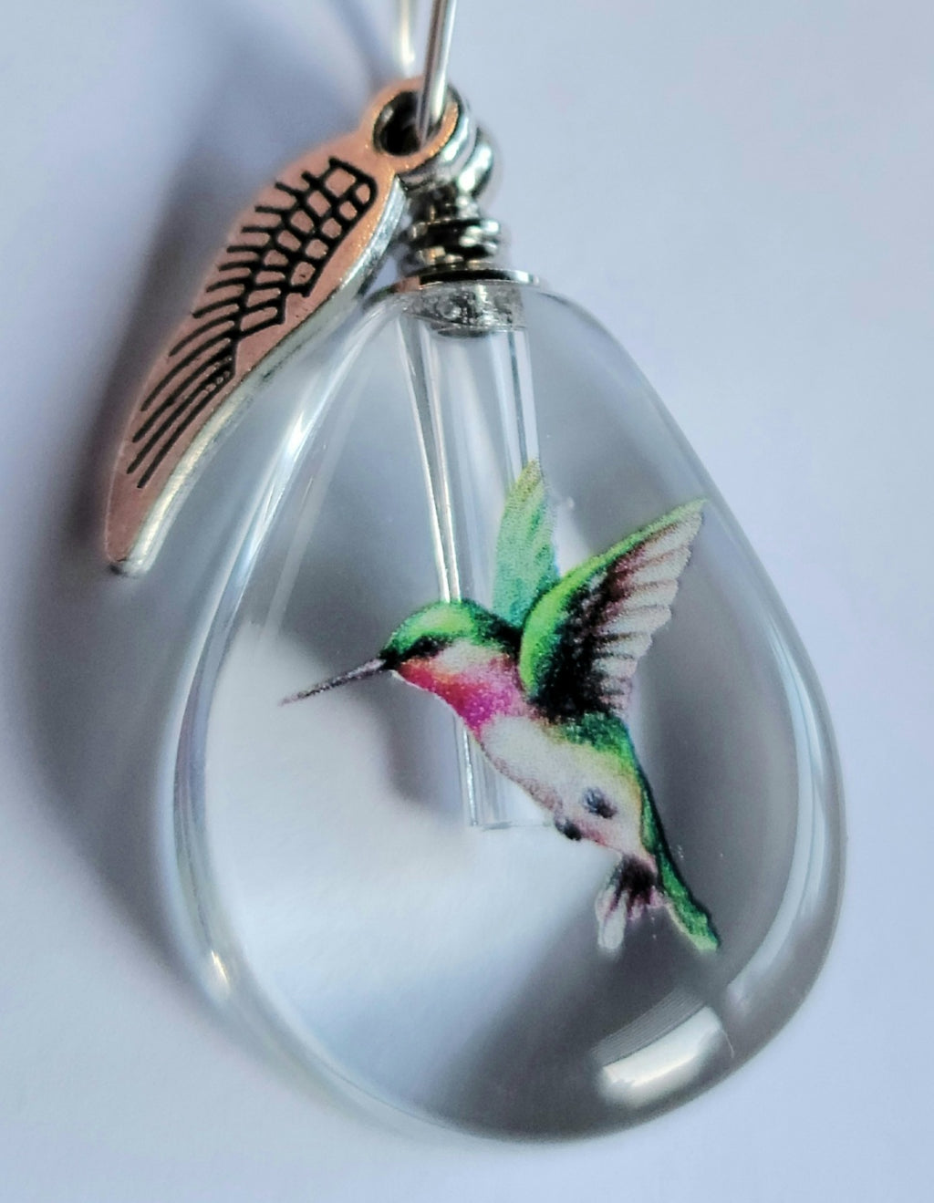 DIY Hummingbird Teardrop Cremation Jewelry Necklace Sympathy Kit Gift Wrapped with Tools