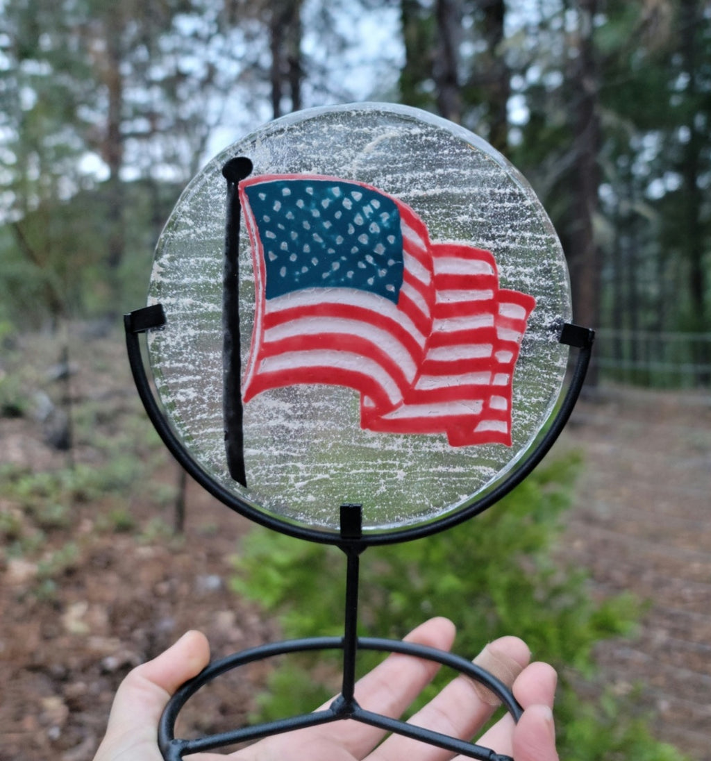 5 inch Ashes InFused Glass Cremation Art American Flag USA Military Urn