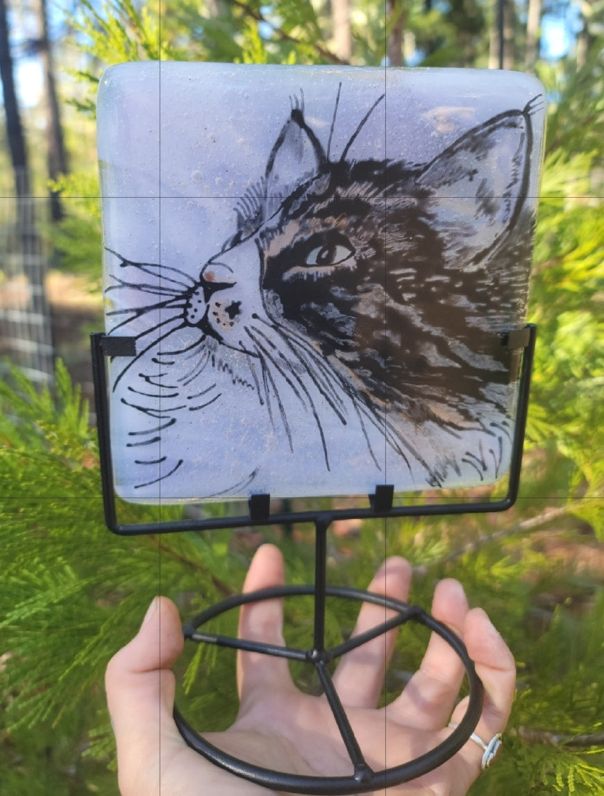 Ashes InFused Glass Cremation Art Portrait Sketch Photo Pet Memorial 5in